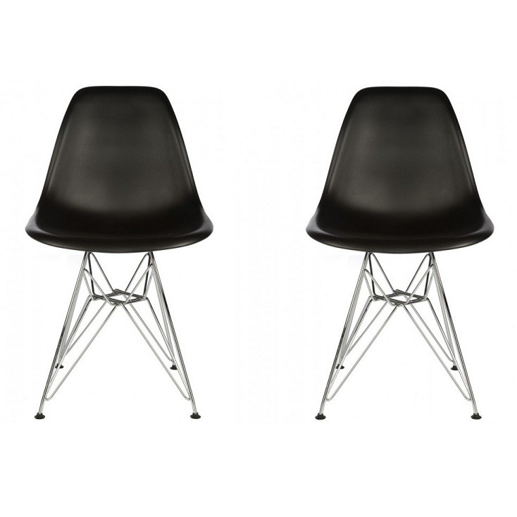 Set Of 2 Eames Style Dsr Molded Black Plastic Dining Shell