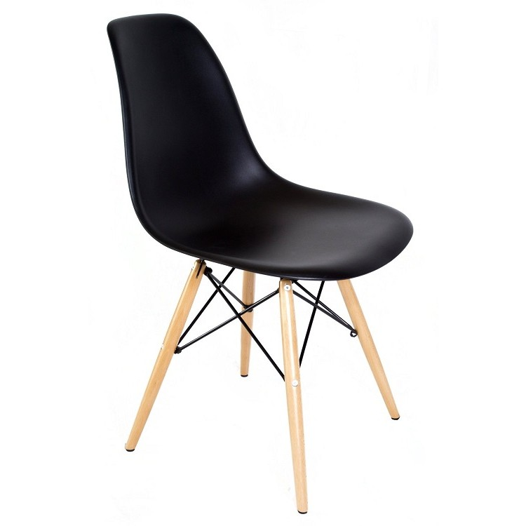 eames style dsw molded black plastic dining shell chair with wood