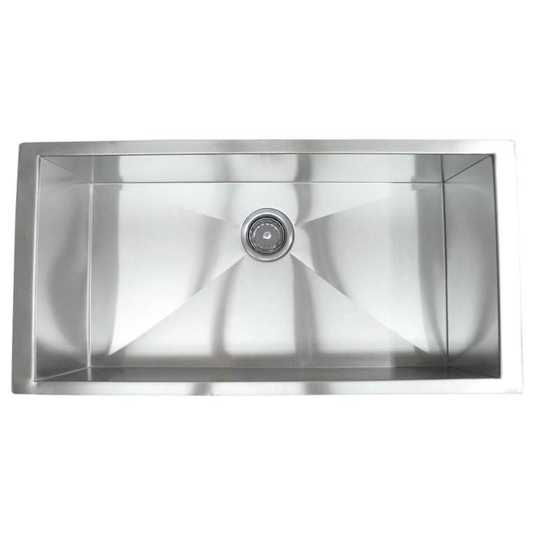 36 Inch Stainless Steel Undermount Single Bowl Kitchen Sink Zero ...