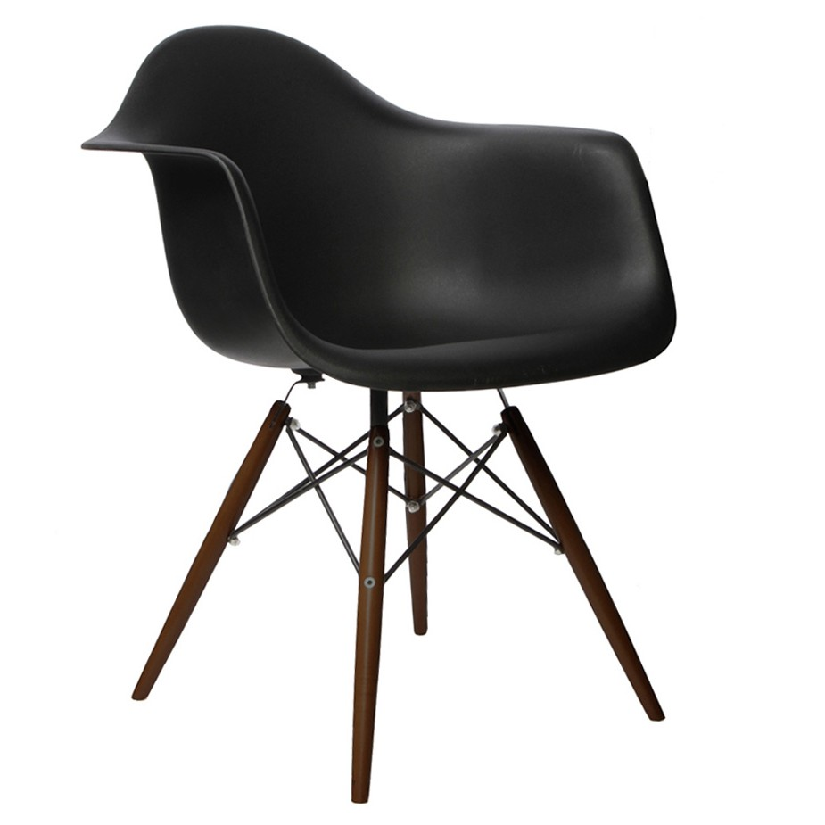 DAW Molded Black Plastic Dining Armchair With Dark Walnut Wood Eiffel Legs