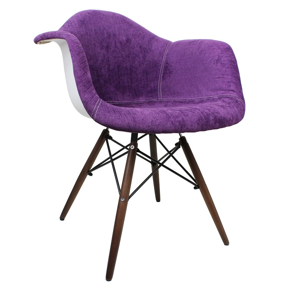 Purple Flannel Fabric Eames Style Accent Arm Chair With