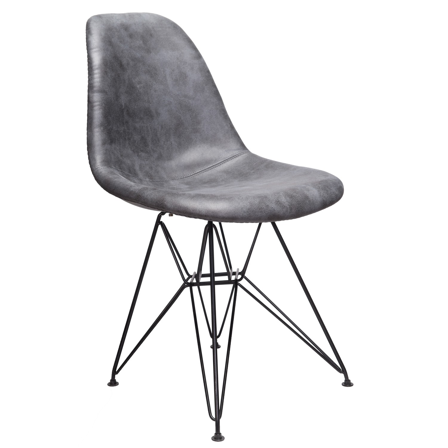 Picture of: Markle Cool Gray Leatherette Fabric Upholstered Dsr Dining Side Accent Chair With Black Steel Leg
