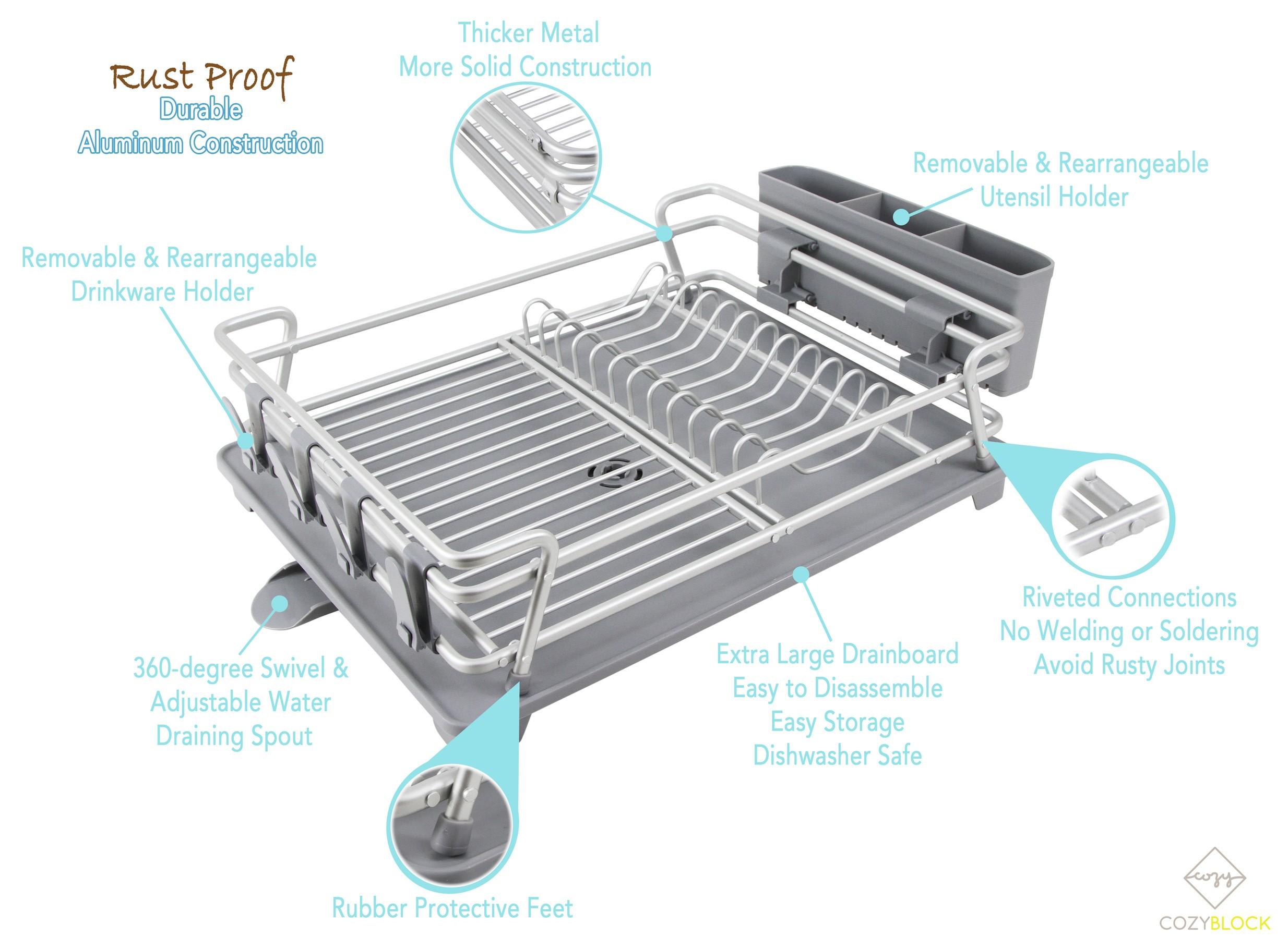 CozyBlock Aluminum Dish Drying rack with Utensil & Drinkware