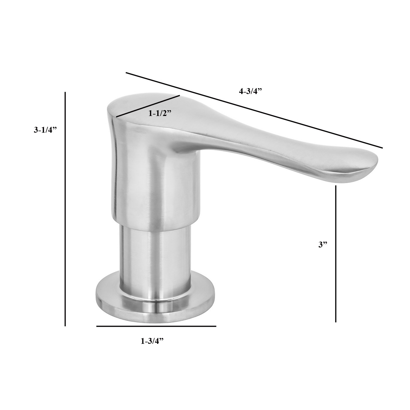 Ariel Built In Round Solid Brass Pump Deck Mount Modern Hand Dish Soap Dispenser Stainless Steel Brushed Nickel All Metal Construction 13