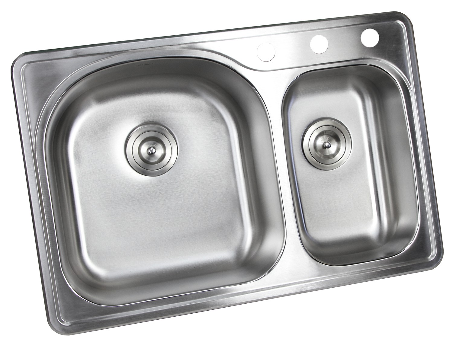 33 Inch Top Mount Drop In Stainless Steel 70 30 Double Bowl Kitchen Sink With 3 Faucet Holes 18 Gauge With Accessories