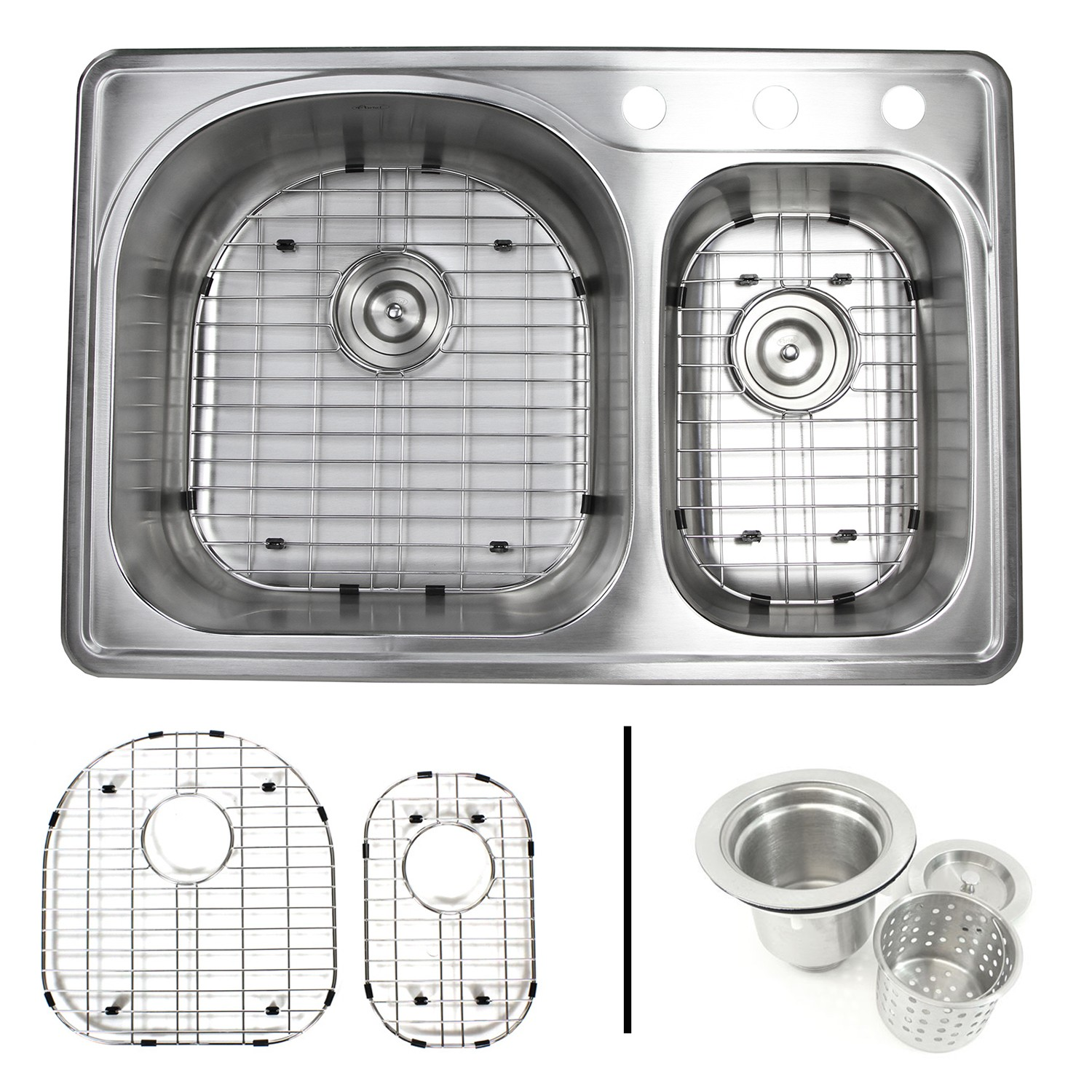 Picture of: 33 Inch Top Mount Drop In Stainless Steel 70 30 Double Bowl Kitchen Sink With 3 Faucet Holes 18 Gauge With Accessories