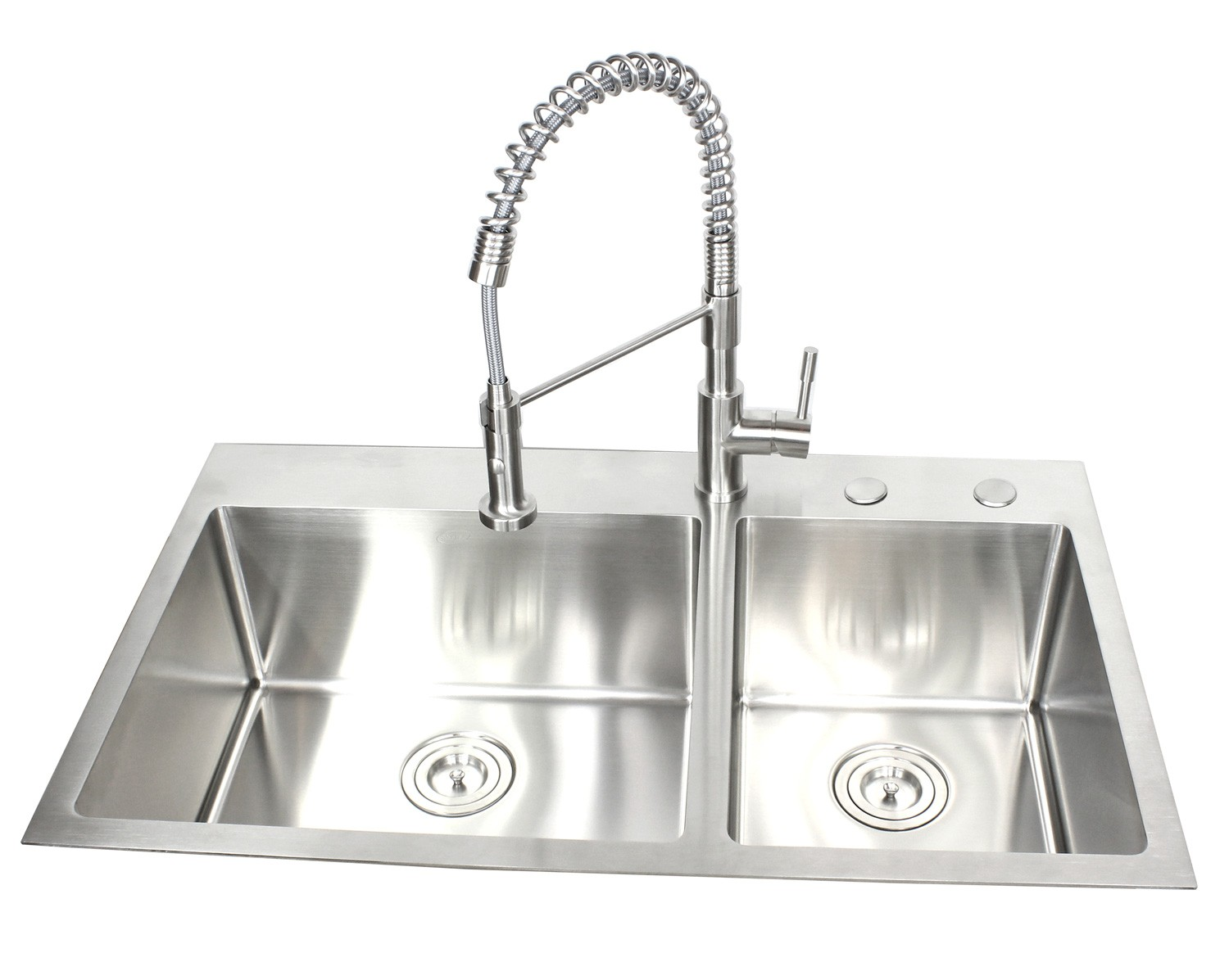 36 Inch Top-Mount / Drop-In Stainless Steel 60/40 Double Bowl Kitchen Sink  15mm Radius Design