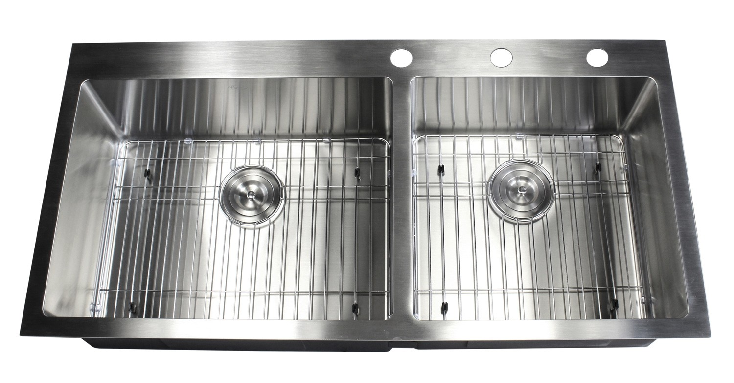 42 Inch Top Mount Drop In Stainless Steel 60 40 Double Bowl Kitchen Sink Premium Package 15mm Radius Design