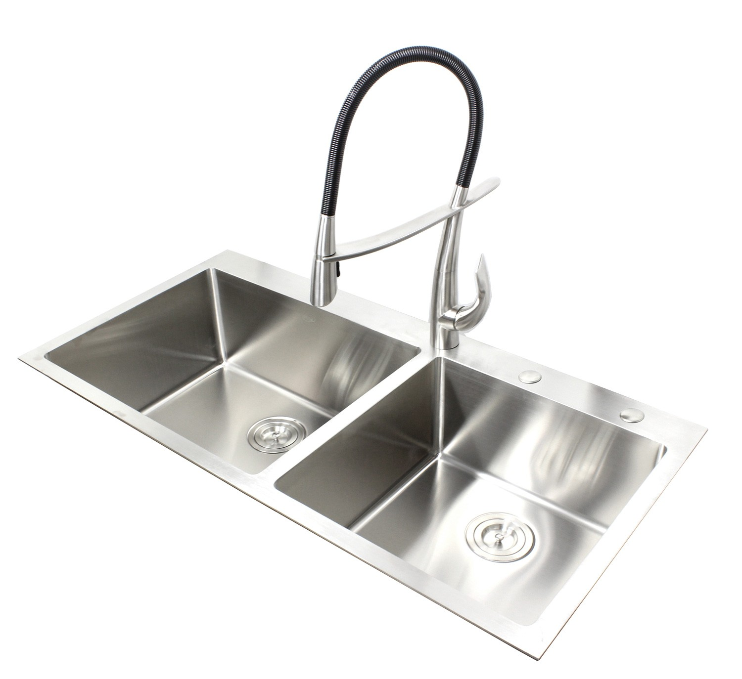 43 Inch Top Mount Drop In Stainless Steel Double Bowl Kitchen Sink 15mm Radius Design