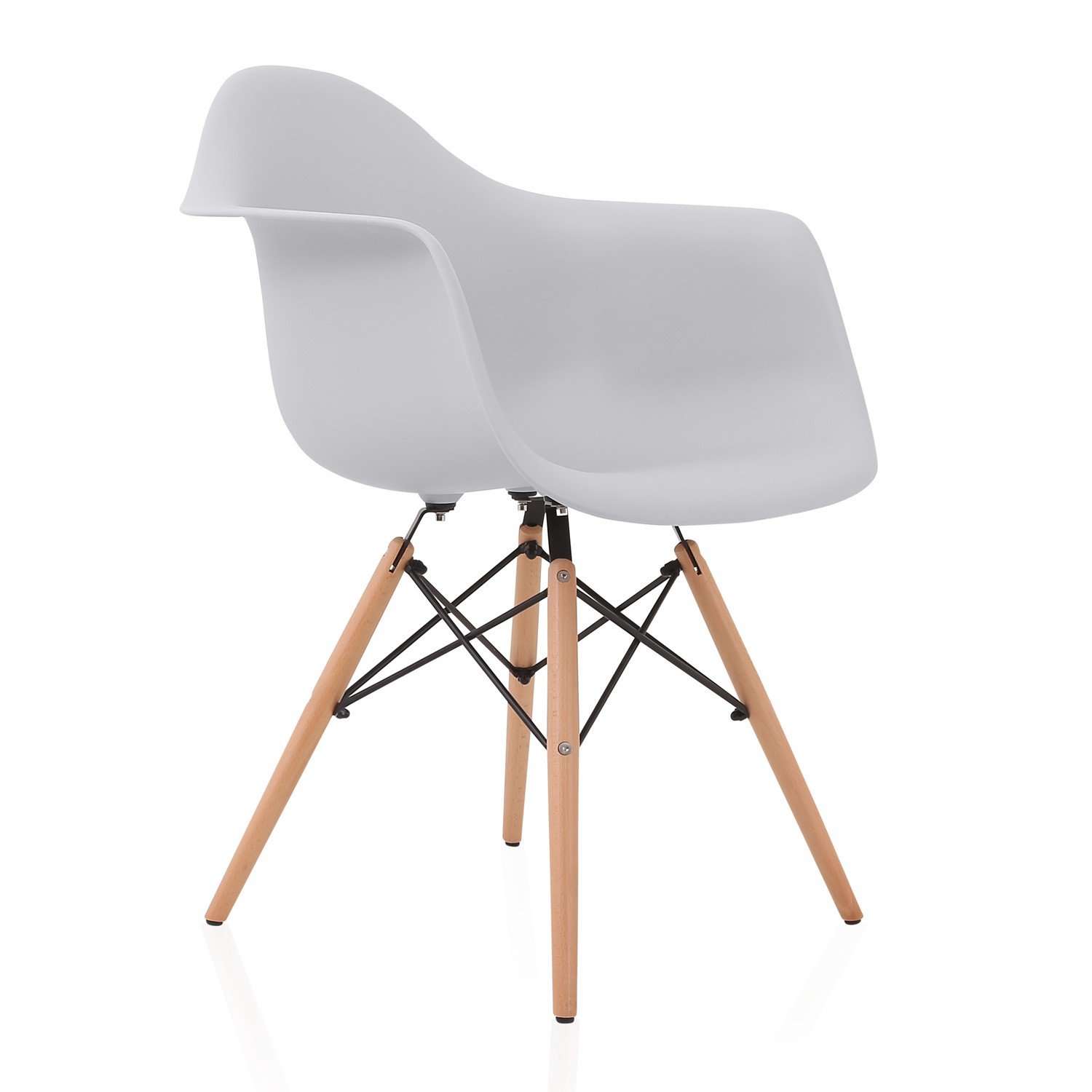 DAW Light Gray Plastic Dining Armchair With Wood Eiffel Legs