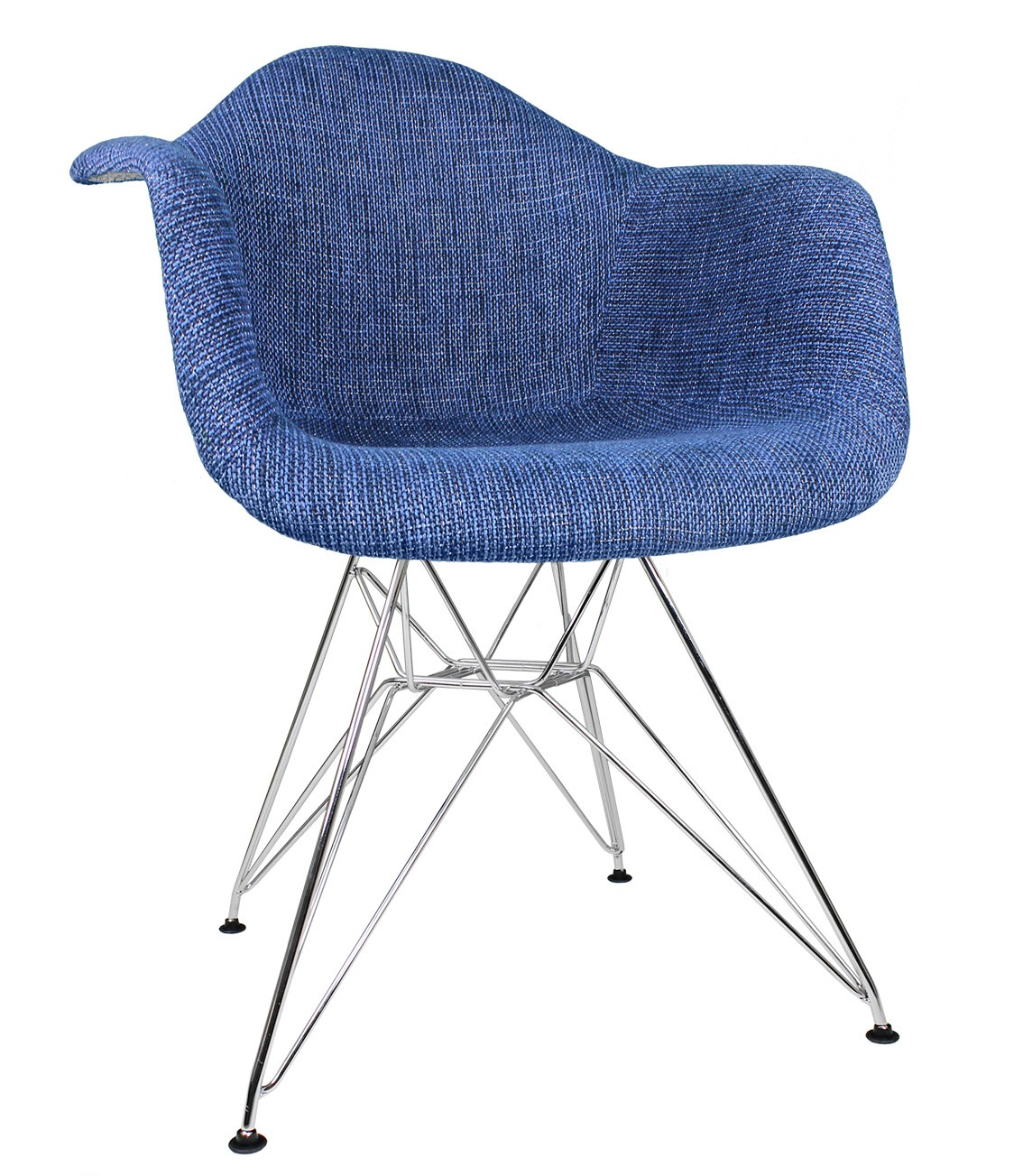 Denim Blue Woven Fabric Upholstered Eames Style Accent Arm Chair