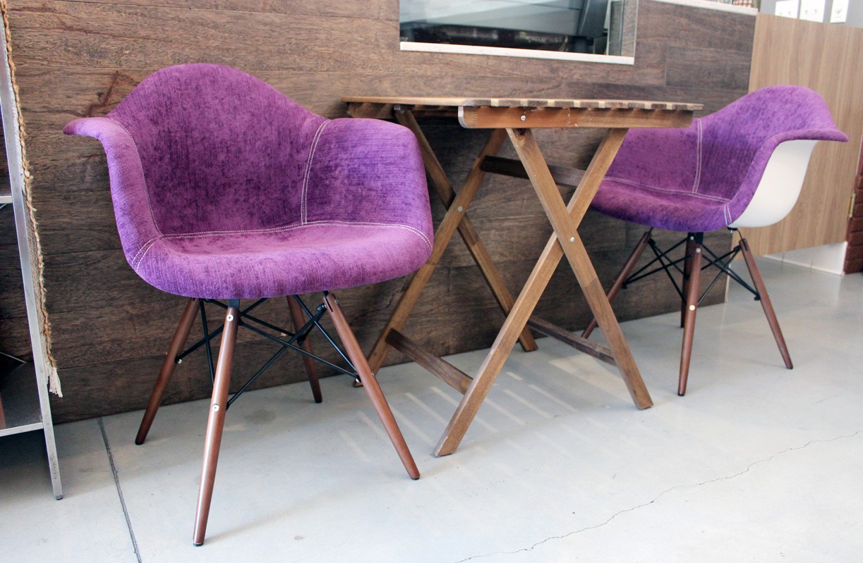 Outstanding Purple Velvet Fabric Accent Arm Chair With Dark Walnut Wood Eiffel Legs Gamerscity Chair Design For Home Gamerscityorg