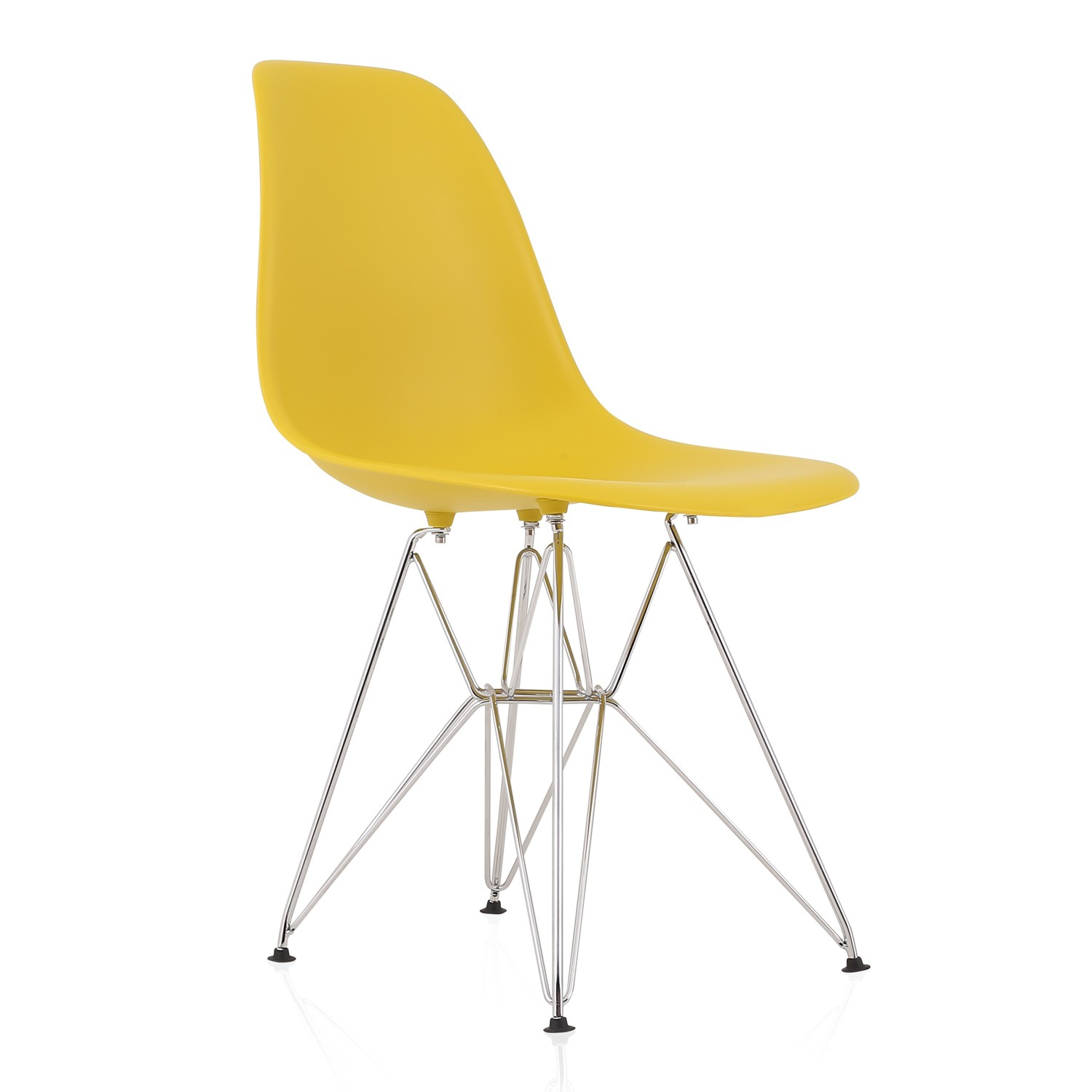 eames style dsr molded dark yellow plastic dining shell chair with