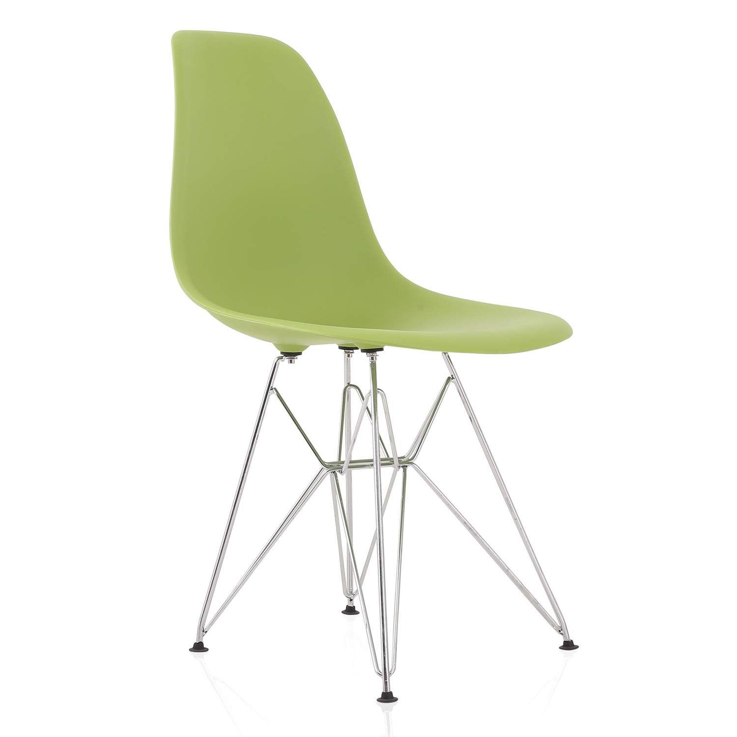 Eames Style DSR Molded Lime Green Plastic Dining Shell Chair with