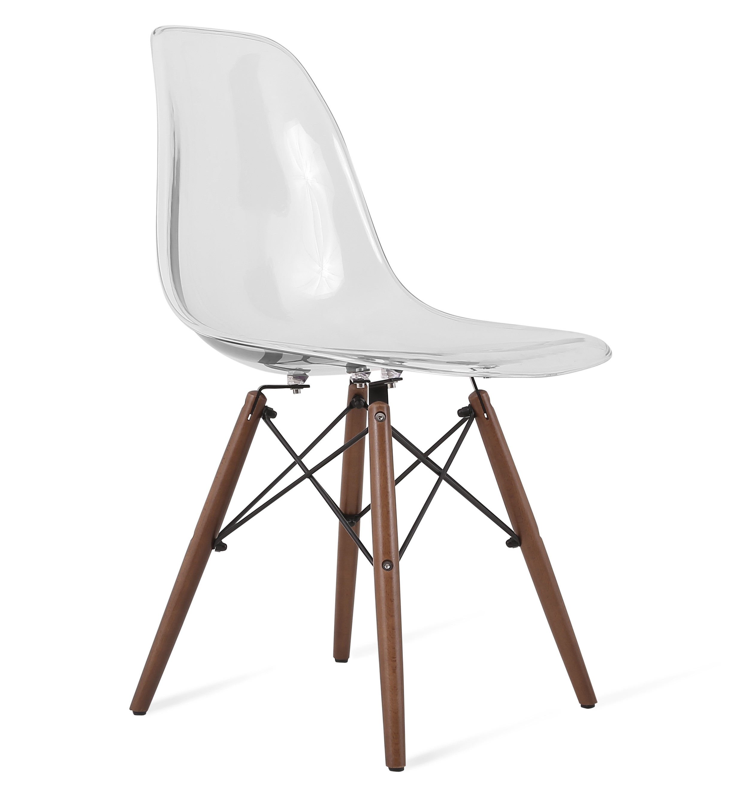DSW Clear Acrylic Plastic Dining Shell Chair With Dark Walnut Eiffel Legs