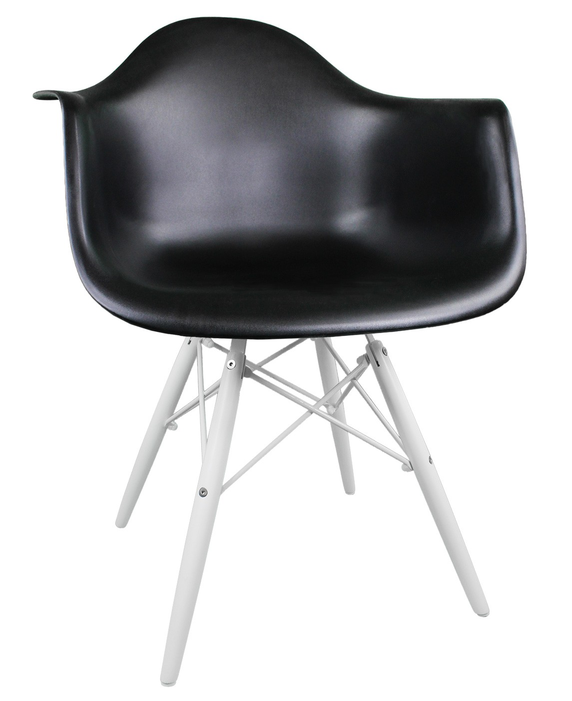 Eames Style DAW Molded Black Plastic Accent Arm Chair With