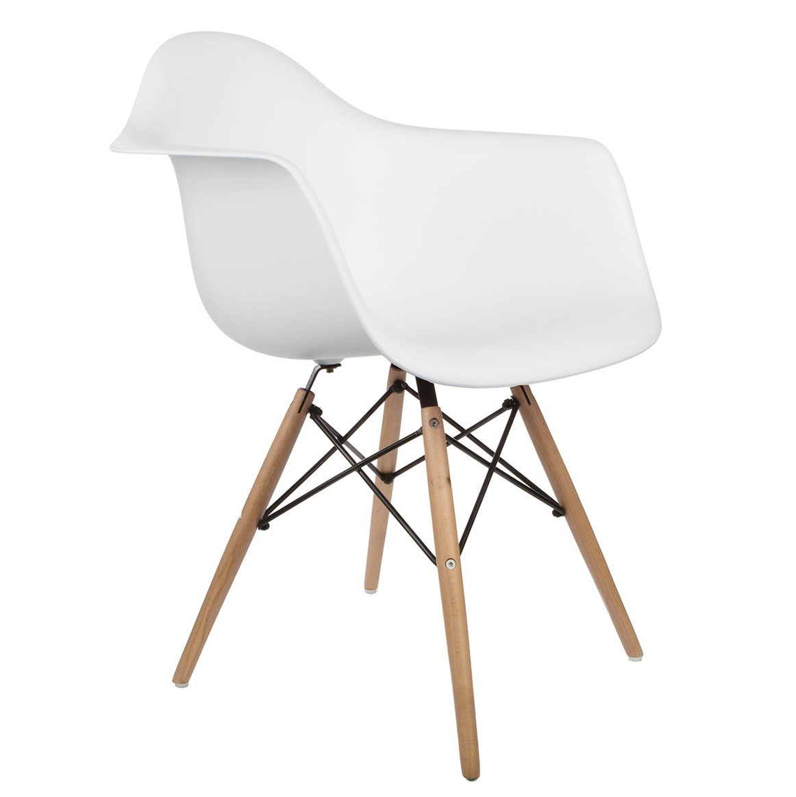 DAW Molded White Plastic Dining Armchair With Wood Eiffel Legs