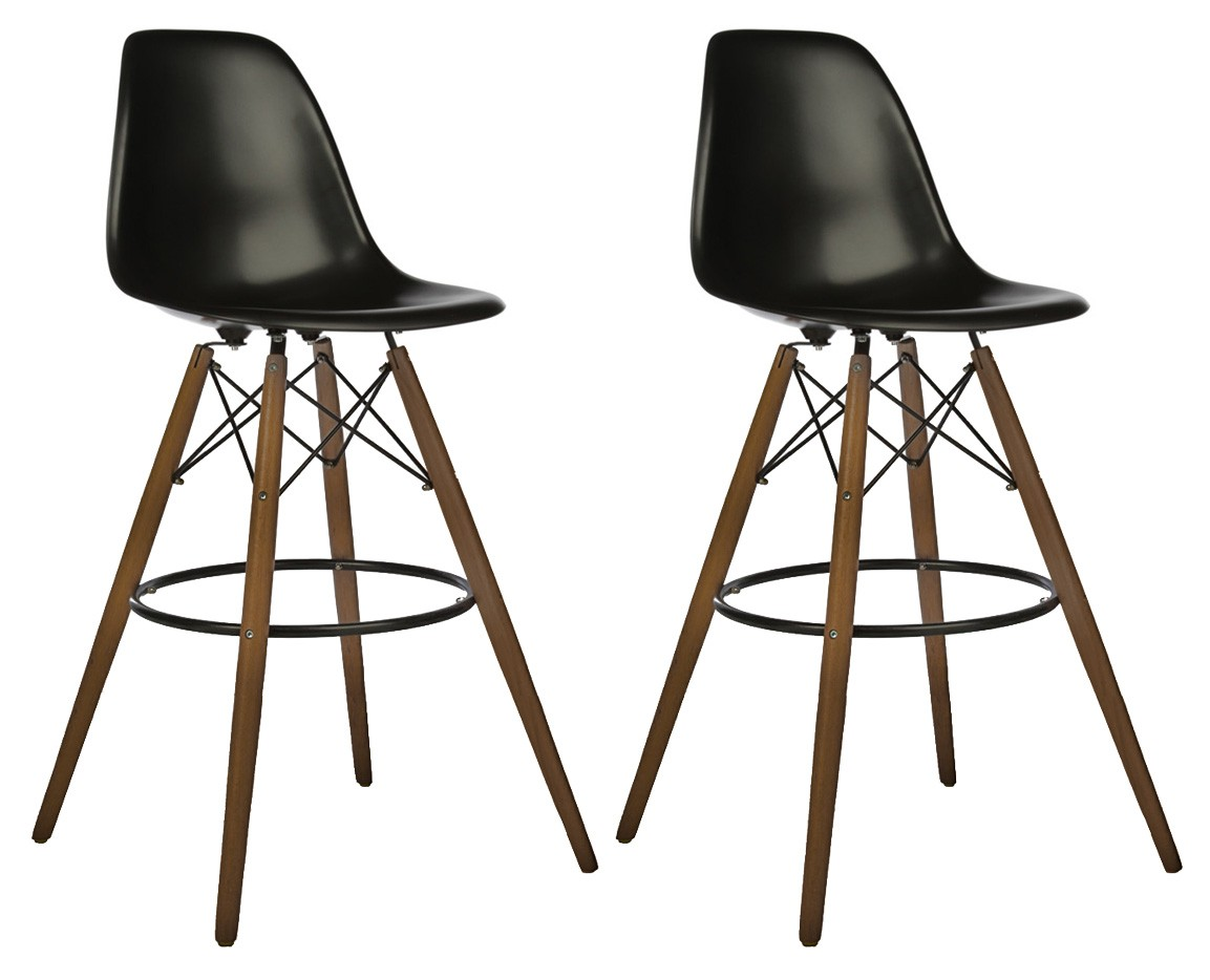Set Of 2 30 Inch Eames Style Dsw Black Plastic Bar Stool
