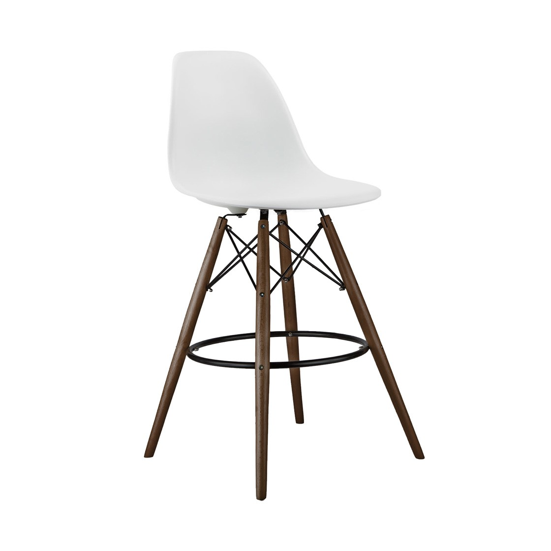 Set Of 2 White Eames Style Dsw Stool With Dark Walnut Wood