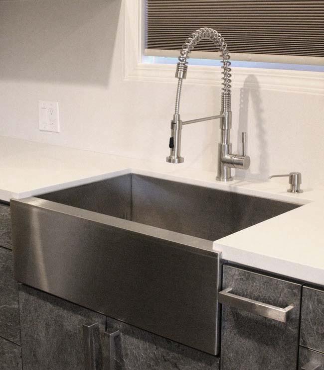 33 inch stainless steel flat front farmhouse apron kitchen sink 6040 double bowl - Farmhouse Kitchen Sinks