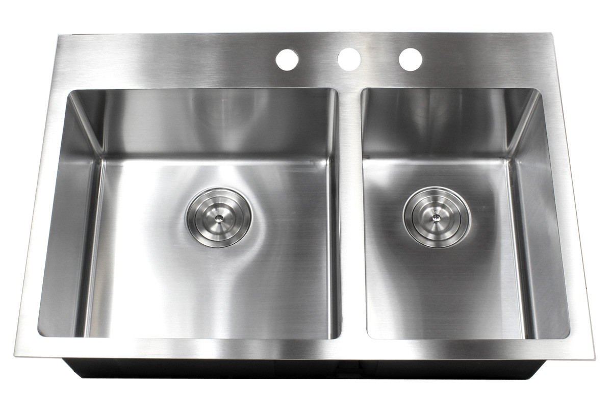 33 Inch Top Mount Drop In Stainless Steel Double Bowl Kitchen Sink