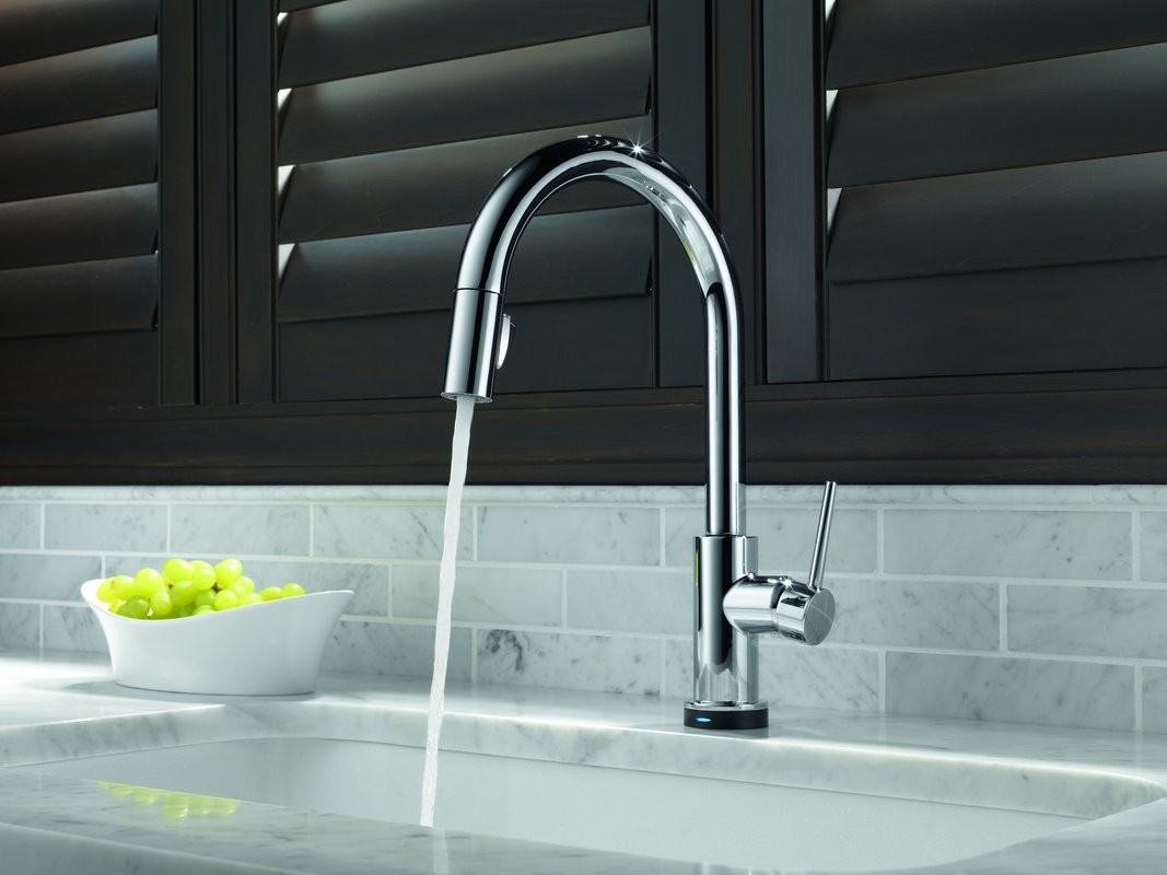 Delta Trinsic Lead Free Single Handle Pull Out Kitchen Faucet ...