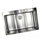 33 Inch Drop-In / Top-Mount Stainless Steel Single Bowl Kitchen Sink - 9 Gauge Deck & 16 Gauge Bowl