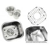 Pearl 14 Inch Stainless Steel Undermount Single Bowl Kitchen / Bar / Prep Sink - 18 Gauge