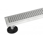 Shower Linear Drain 24 Inch – Square Checker Pattern Grate – Brushed 304 Stainless Steel – Threaded Adaptor Included – Adjustable Leveling Feet