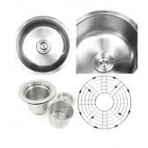 Pearl 17 Inch Stainless Steel Undermount Single Bowl Kitchen / Bar / Prep Sink - 16 Gauge