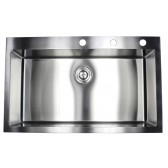 36 Inch Drop-In / Top-Mount Stainless Steel Single Bowl Kitchen Sink - 9 Gauge Deck & 16 Gauge Bowl