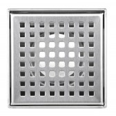 Shower Square Drain 4 Inch – Square Checker Pattern Grate – Brushed 304 Stainless Steel – with Threaded Adaptor  and Adjustable Leveling Feet