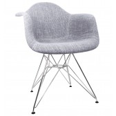 Gray Woven Fabric Upholstered Accent Arm Chair