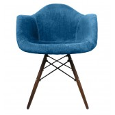 Aqua Blue Velvet Fabric Accent Arm Chair