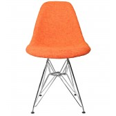 Orange Fabric Upholstered Mid-Century Style Accent Side Dining Chair