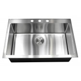 33 Inch Drop-In / Top-Mount Stainless Steel Single Bowl Kitchen Sink - 9 Gauge Deck & 16 Gauge Bowl