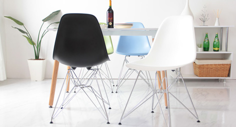 Eames Style DSR Dining Chairs with Steel Eiffel Legs