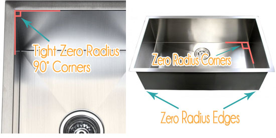 15mm radius design kitchen sinks